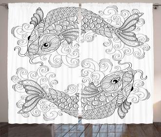 Ethnic Koi Fish Pattern Curtain