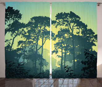 Mist Forest Trees Scene Curtain