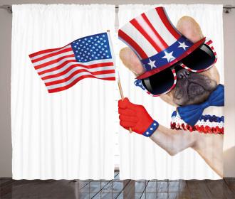 Patriotic Pug Dog Curtain