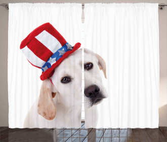 Cute Dog with Hat Curtain