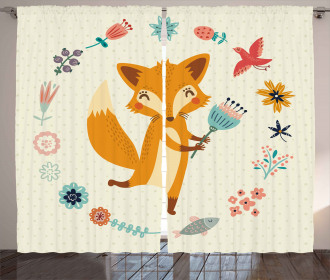 Cute Animal with Floral Curtain