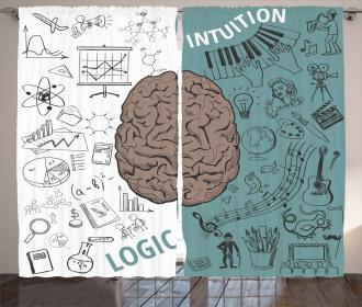 Music Logic Brain Art Curtain