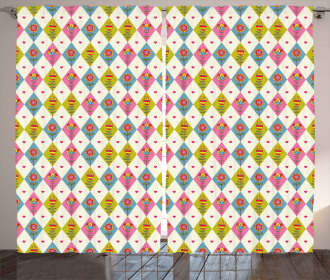 Geometric Tulips Pattern Curtain
