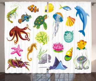Sea Animals Octopus Fish Curtain