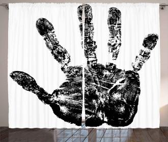 Grunge Motley Hand Stamp Curtain