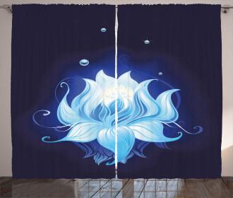 Zen Lotus with Dew Drops Curtain
