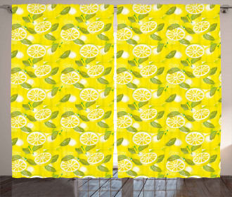 Fresh Lemons with Leaves Curtain