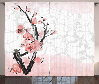 Watercolor Poppy Branches Curtain