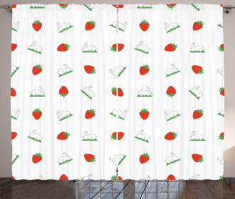 Strawberries and Bunnies Curtain