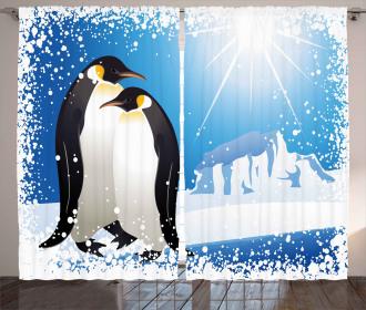 Snowy Frozen Kid Season Curtain