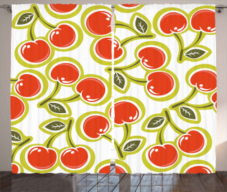 Cherry and Leaves Pattern Curtain