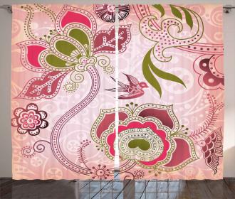 Swirl Leaf Lines Bohem Curtain