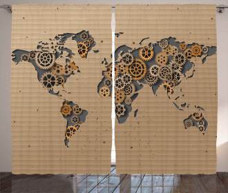 Old Hipster World Map Curtain