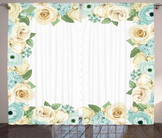 Flower Roses Leaves Curtain