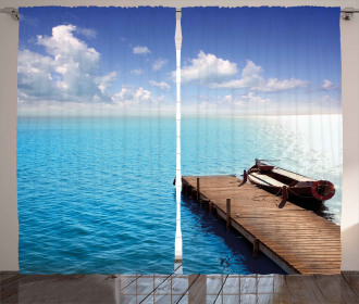 Wooden Deck on a Lake Curtain