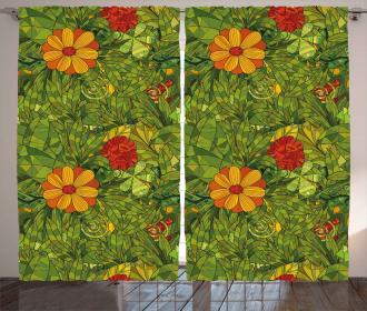 Fractal Retro Jungle Art Curtain