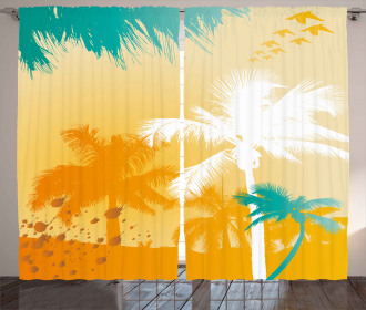 Funky Retro Vivid Palms Curtain