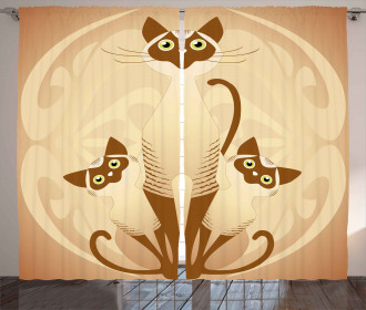 Three Asian Siamese Cats Curtain