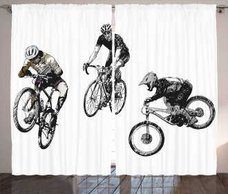 Sketch Cyclists Curtain