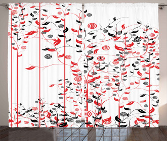 Flowers Ivy Swirl Leaves Curtain