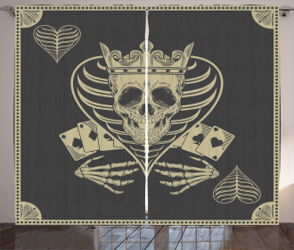 Vector Skull Poker Cards Curtain