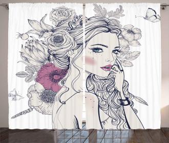 Butterfly Woman Portrait Curtain