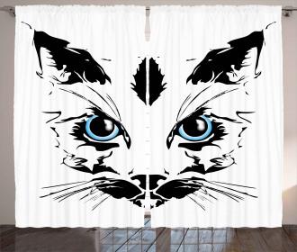Big Cat Face Pet Sketchy Curtain