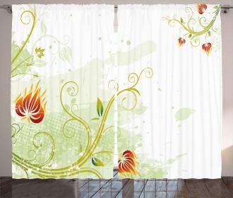 Retro Grunge Swirl Petal Curtain