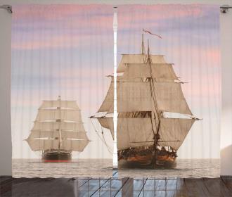 Wooden Sailing Ship Waves Curtain