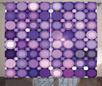 Geometric Violet Circles Curtain