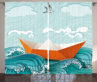 Navy Sealife with Waves Curtain