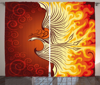 Phoenix Bird in Flame Curtain