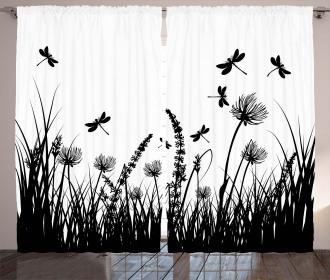 Grass Bush Meadow Spring Curtain