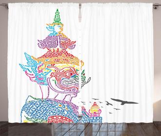 Asian Religious Bird Curtain
