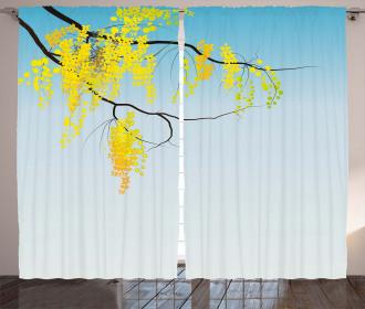 Flowers Bud Blossom Artwork Curtain