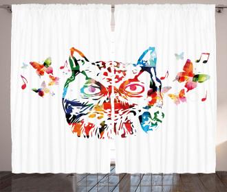 Abstract Wild Birds Owl Curtain