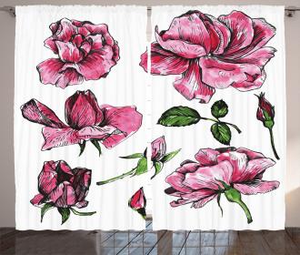 Garden Flowers Rose Buds Curtain