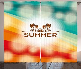Palm Tree Sun Holiday Curtain