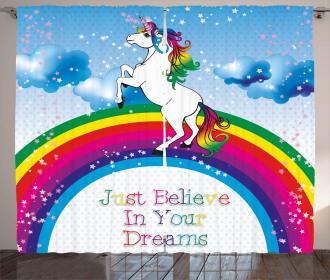 Unicorn Rainbow Fantasy Curtain