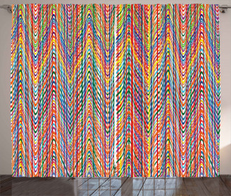 Colorful Zig Zag Lines Curtain