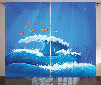 Fish and Wave in Ocean Curtain