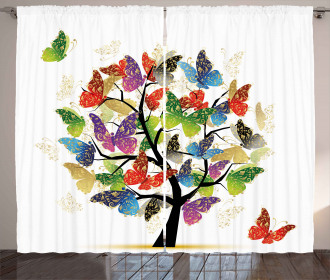Floral Butterfly Leaf Curtain