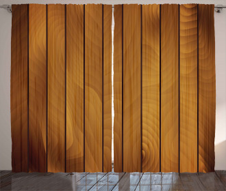 Wooden Plank Aged Timber Curtain