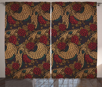 Traditional Roses Dragon Curtain