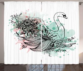 Sketchy Swan Watercolors Curtain