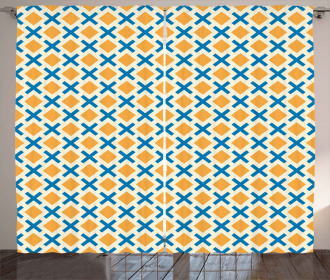 Squares Dashed Lines Tile Curtain