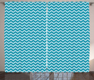 Sea Colored Zigzags Curtain