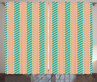 Retro Zigzag Lines Curtain