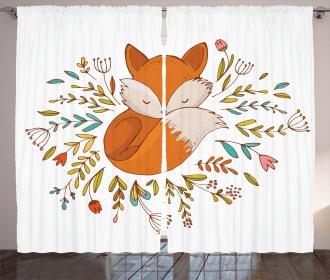 Cute Baby Fox Flowers Curtain