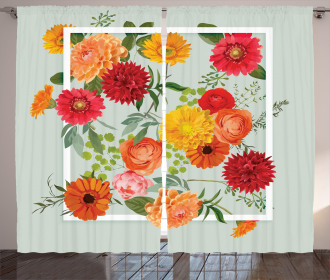 Floral Flower Leaf Curtain